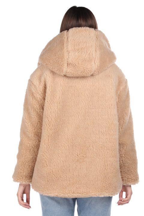 Teddy Plush Oversize Hooded Beige Woman Coat