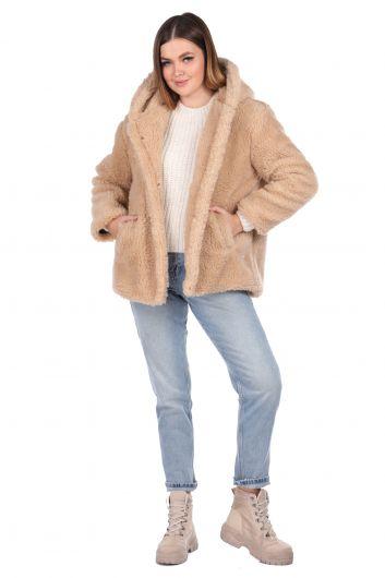 Teddy Plush Oversize Hooded Beige Woman Coat - Thumbnail