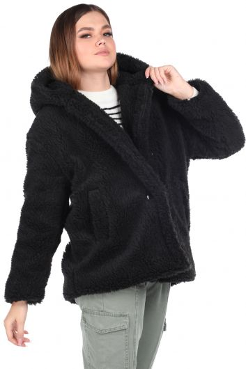 MARKAPIA WOMAN - معطف بقلنسوة أسود كبير الحجم للنساء من تيدي (1)