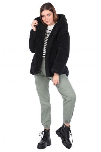 Плюшевое негабаритное черное пальто с капюшоном для женщин Teddy - Thumbnail