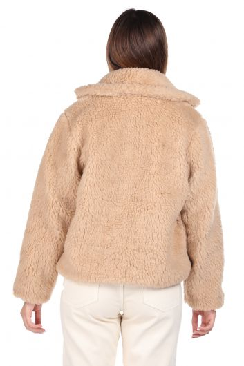 تيدي قطيفة معطف نسائي بيج قصير كبير الحجم - Thumbnail