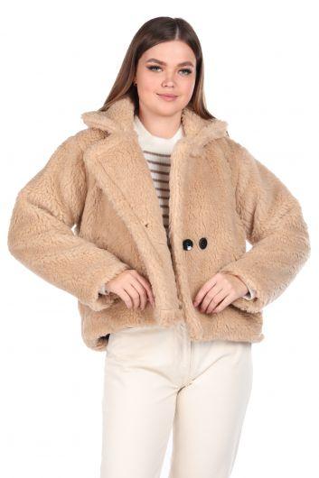 Плюшевое женское короткое короткое бежевое пальто Teddy Plush Oversize - Thumbnail