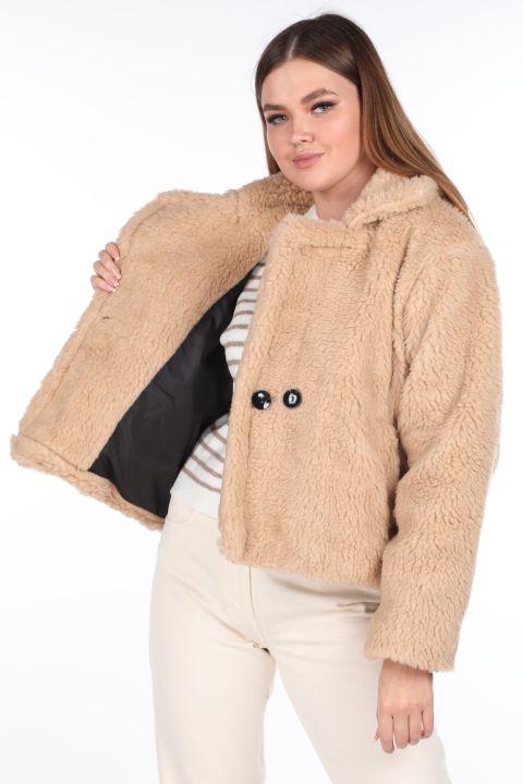 Плюшевое женское короткое короткое бежевое пальто Teddy Plush Oversize