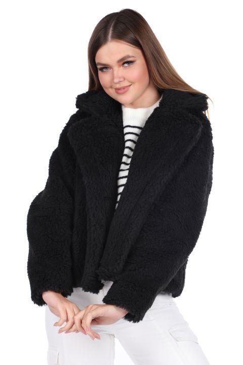 Teddy Plush Oversize Short Black Woman Coat