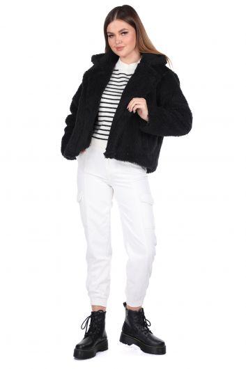 Teddy Plush Oversize Short Black Woman Coat - Thumbnail