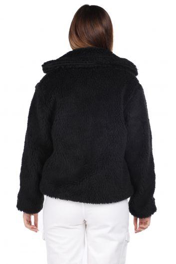 Плюшевое короткое женское пальто оверсайз с плюшевым принтом - Thumbnail