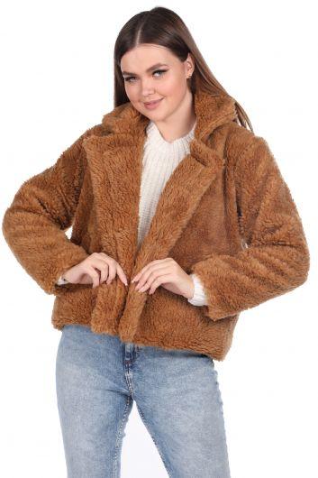 تيدي قطيفة معطف نسائي قصير بني اللون - Thumbnail