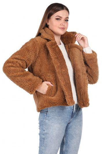 Teddy Plush Oversize Short Brown Woman Coat - Thumbnail