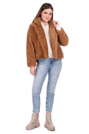 Короткое коричневое женское пальто из плюша Teddy Oversize - Thumbnail