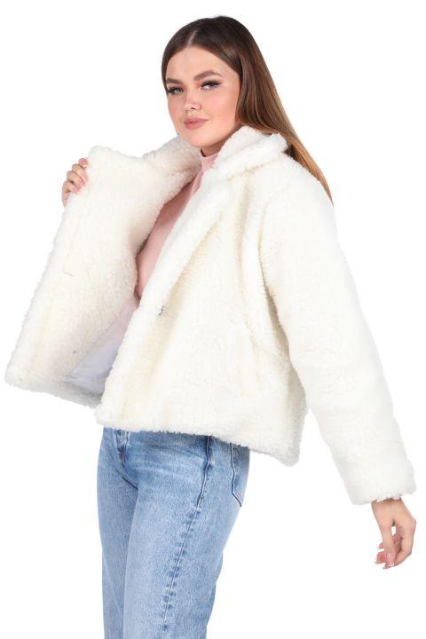 Белое женское пальто оверсайз с плюшевым принтом Teddy