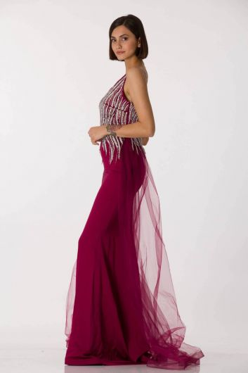 Shecca By Dayi - V Neck Tulle Back Red Fish Evening Dress (1)