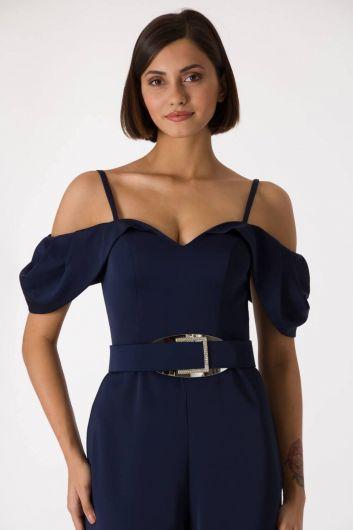 shecca - Темно-синий вечерний комбинезон с тонкими ремешками и низкими плечами (1)
