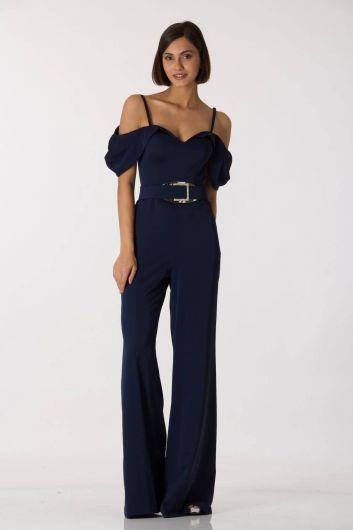 Темно-синий вечерний комбинезон с тонкими ремешками и низкими плечами - Thumbnail