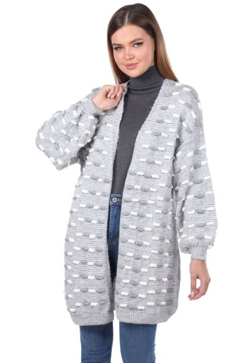 Thick Knit Detailed Balloon Sleeve Knitwear Cardigan