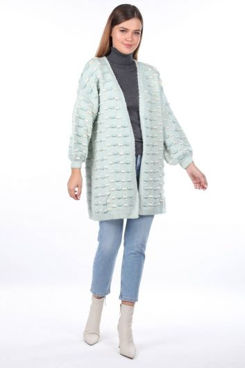 Thick Knit Detailed Balloon Sleeve Knitwear Cardigan Ice Green - Thumbnail
