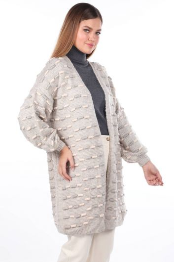 MARKAPIA WOMAN - Thick Knit Detailed Balloon Sleeve Knitwear Cardigan Ecru (1)