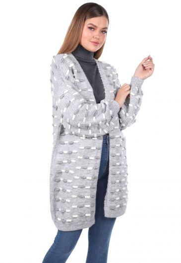 MARKAPIA WOMAN - Thick Knit Detailed Balloon Sleeve Knitwear Cardigan Gray (1)