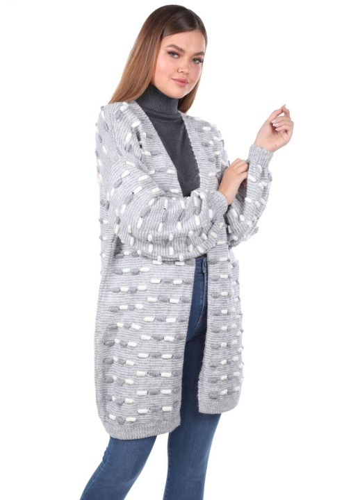 Thick Knit Detailed Balloon Sleeve Knitwear Cardigan Gray