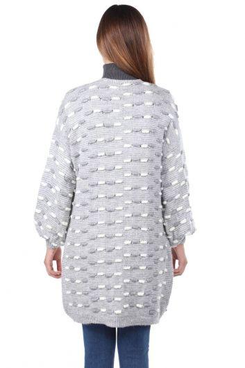 Thick Knit Detailed Balloon Sleeve Knitwear Cardigan Gray - Thumbnail