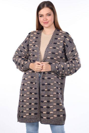 Thick Knit Detailed Balloon Sleeve Knitwear Cardigan Navy - Thumbnail