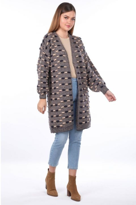 Thick Knit Detailed Balloon Sleeve Knitwear Cardigan Navy