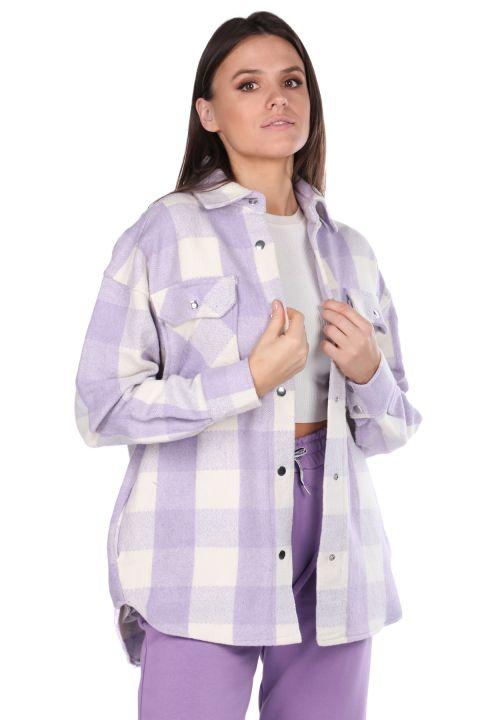 سترة امرأة أرجواني منقوشة سميكة