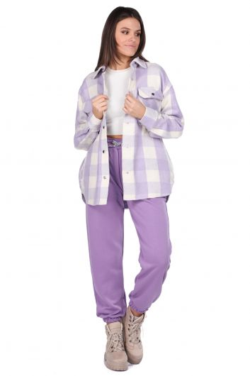 Thick Plaid Lilac Woman Jacket - Thumbnail