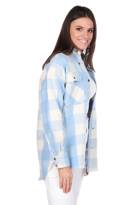 Thick Plaid Blue Women's Jacket