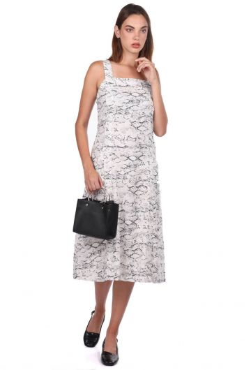 Thick Strapped Snake Patterned Dress - Thumbnail