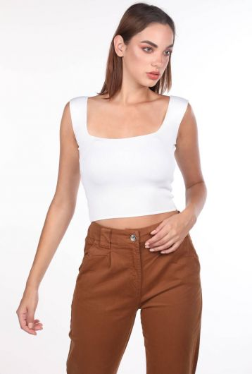 Экрю блузка с толстыми ремешками - Thumbnail