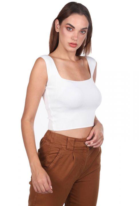 Экрю блузка с толстыми ремешками