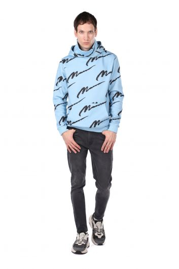 Turtleneck Hooded Inner Fleece Oversized Men's Sweatshirt - Thumbnail