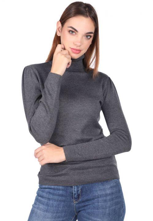 Turtleneck Gray Knitwear Sweater