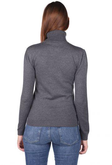 Turtleneck Gray Knitwear Sweater - Thumbnail