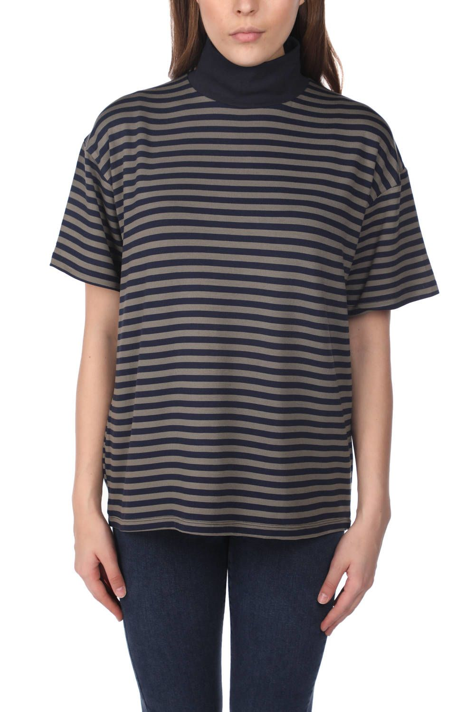 Женская футболка с высоким воротом в полоску-Белый-Хаки