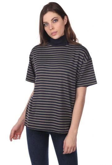Turtleneck Striped Women's T-Shirt-White-Khaki - Thumbnail