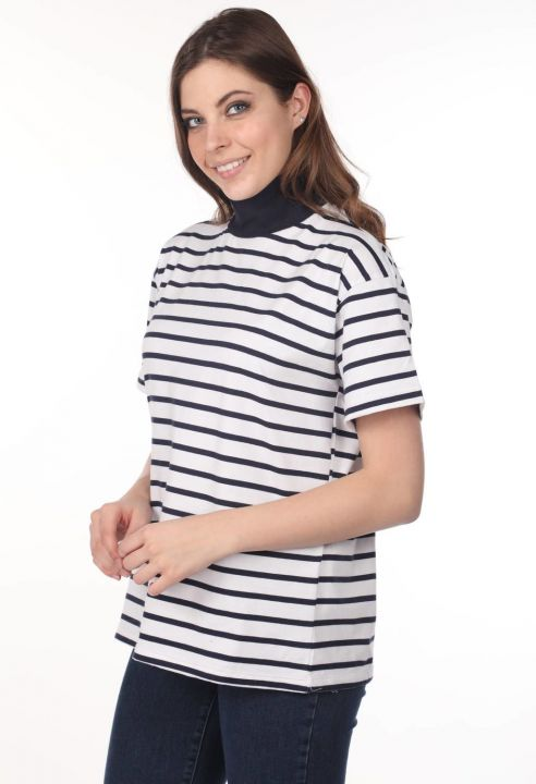 Turtleneck Striped Women's T-Shirt-White-Khaki