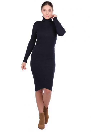 Turtleneck Thick Knitwear Straight Dress - Thumbnail