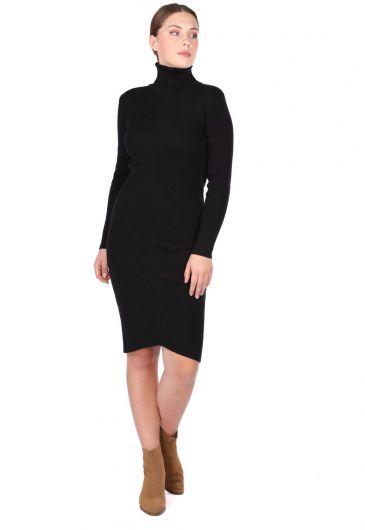 Turtleneck Thick Knitwear Dress - Thumbnail