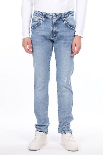 Ripped Detailed Men's Jean Trousers - Thumbnail