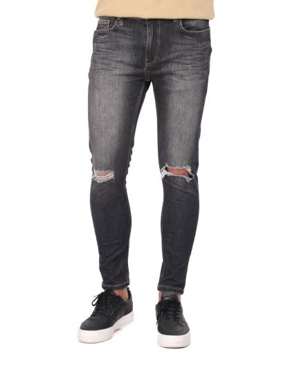 Ripped Skinny Fit Men's Jean Trousers - Thumbnail