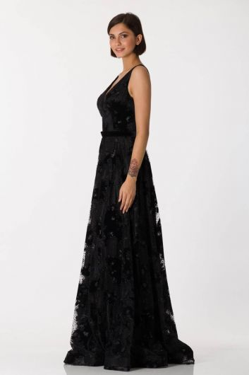 Shecca By Dayi - Thick Strap Black Long Evening Dress (1)