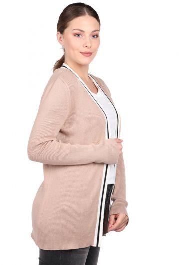MARKAPIA WOMAN - Bej Şerit Detaylı Önü Açık Kadın Triko Hırka (1)