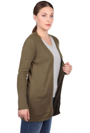 MARKAPIA WOMAN - Haki Yeşili Önü Açık Cepli Kadın Triko Hırka (1)