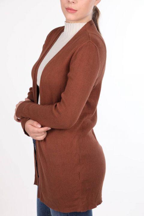 Kahverengi Önü Açık Cepli Kadın Triko Hırka