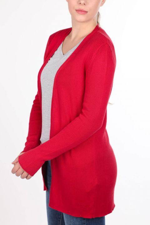 Kırmızı Önü Açık Cepli Kadın Triko Hırka