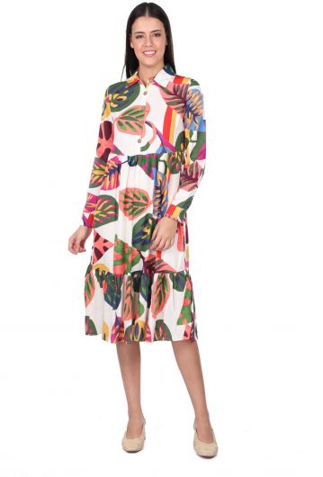 Tropic Pattern Gathered Dress - Thumbnail