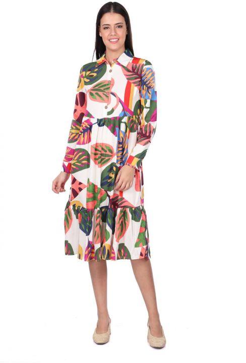 Tropic Pattern Gathered Dress