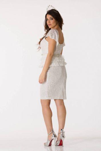 shecca - Белый вечерний костюм с маховиком и блестящими рукавами (1)