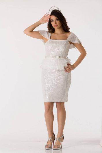 بيضاء لامعة كم حذافة فستان سهرة البدلة - Thumbnail
